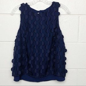 Anthropologie Maeve Navy Dimensional Blouse 0